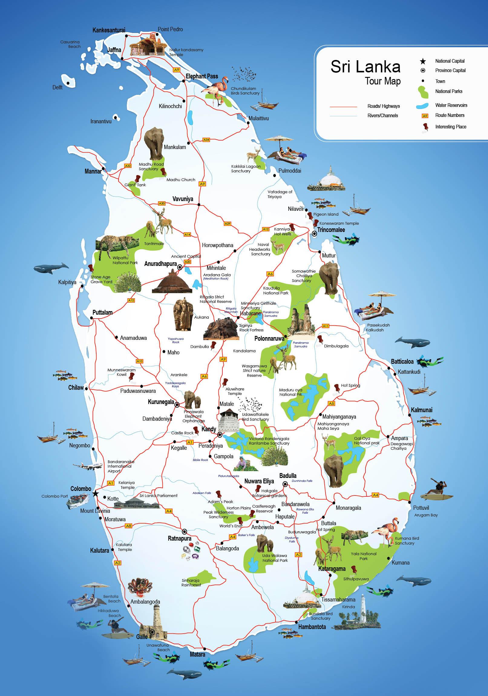 boc travels travels map in sri lanka. Black Bedroom Furniture Sets. Home Design Ideas